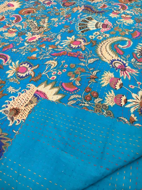 Dreams Kantha Quilt: Blue
