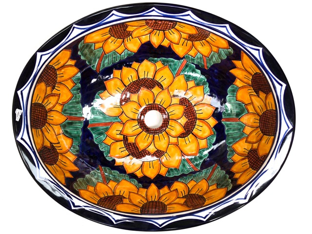 Large Talavera Hand Basin Sunflower