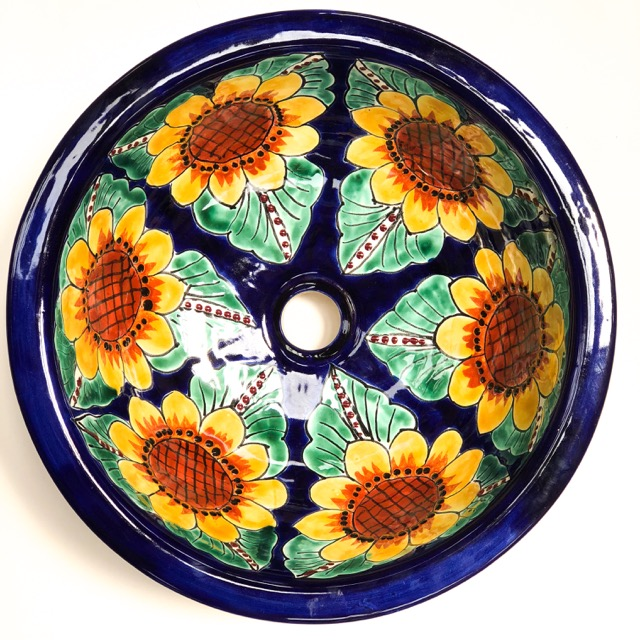 Medium Round Talavera Hand Basin Sunflower