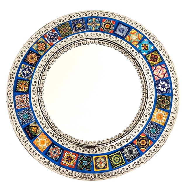 Round Mexican Tin & Tile Mirror: Blue