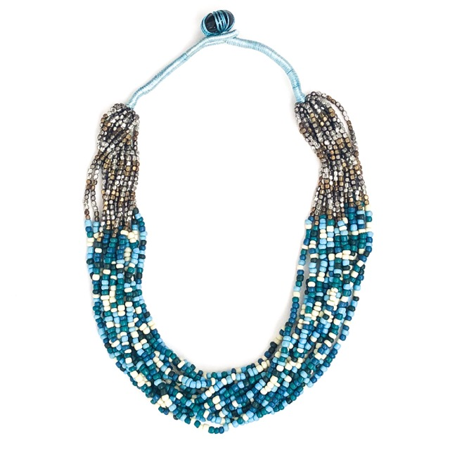 Boho Beaded Necklace Blue