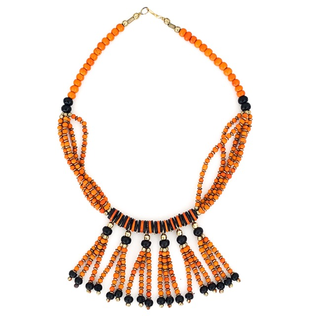 Boho Tassle Necklace Orange