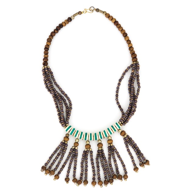 Boho Tassle Necklace Brown