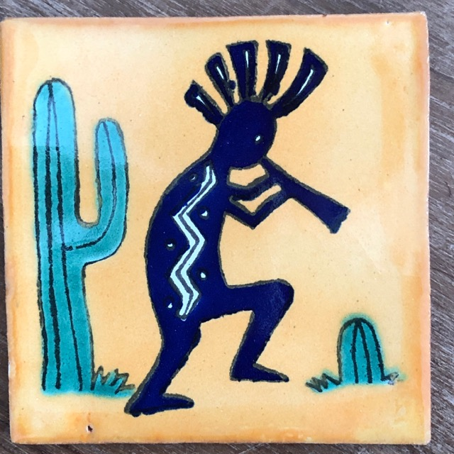 Kokopelli Tile Yellow