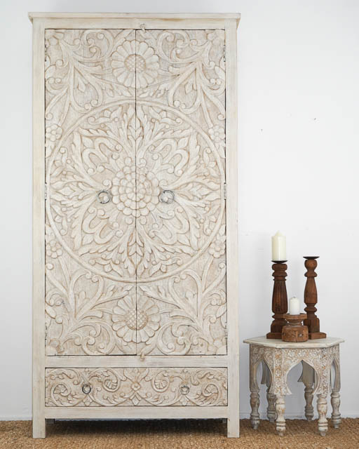 Large Hand Carved Mandala Tallboy