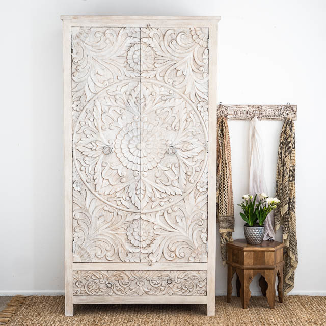 Large Hand Carved Mandala Wardrobe Whitewashed PRE ORDER