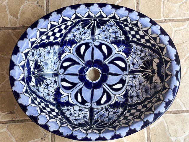 Hand Painted Mexican Basin 3: Large