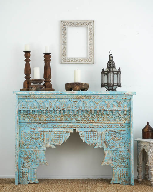 Boho Carved Console Blue BACK ORDER