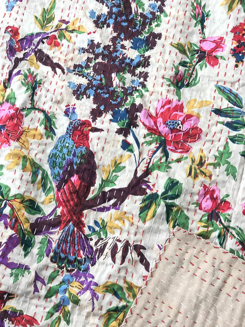 Bird of Paradise Kantha Quilt Cream