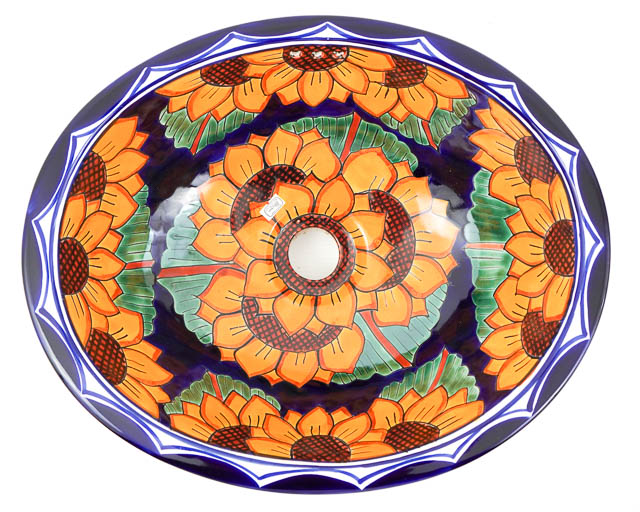 Medium Talavera Hand Basin Sunflower