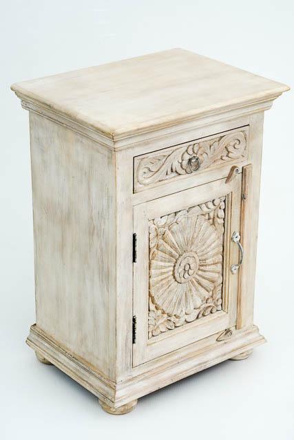 Zahara Bedside Table Whitewash Furniture Lighting Decor