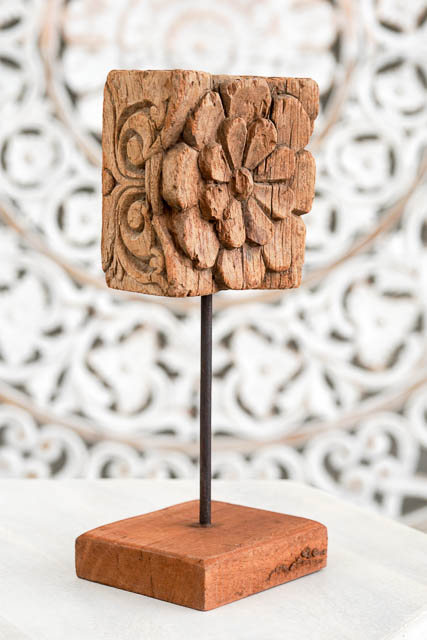 Rustic Hand Carved Indian Flower 9