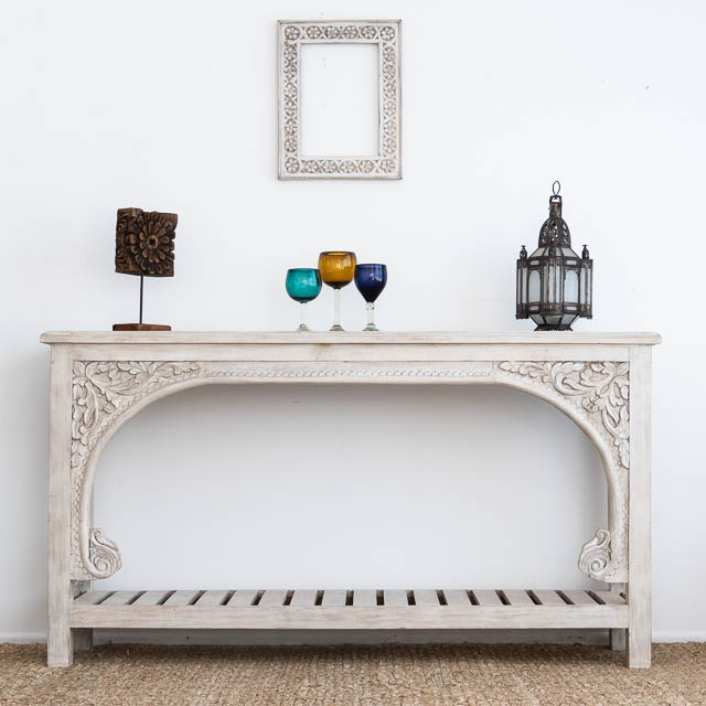 Bohemian Carved Console White