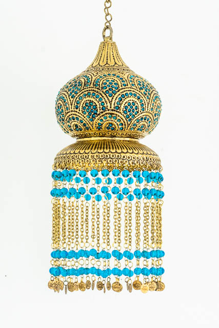 Blue Gypsy Brass Lantern