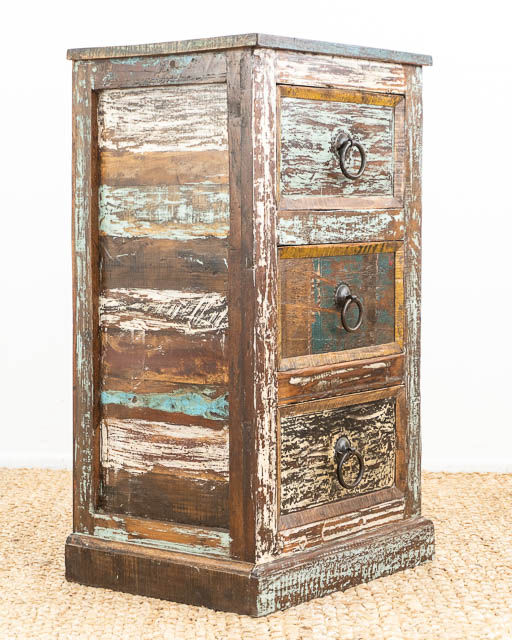Tall Rustic Indian 3 Drawers