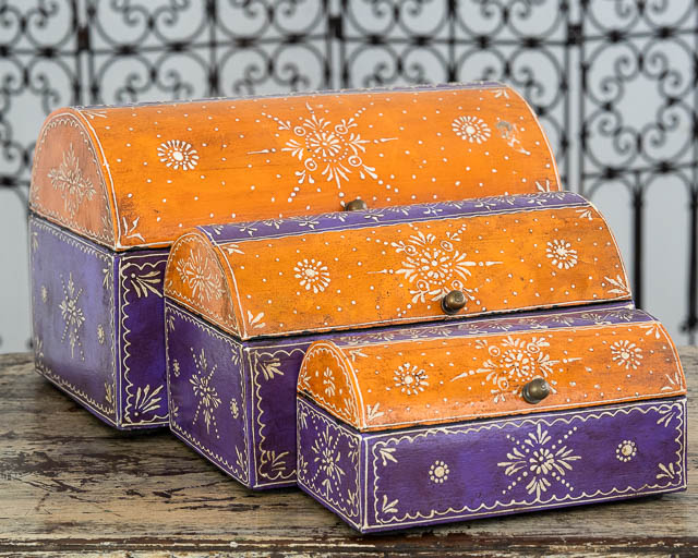 Set of 3 Treasure Boxes Purple