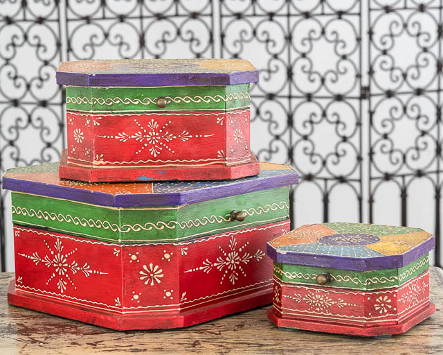 Set of 3 Boho Boxes Red