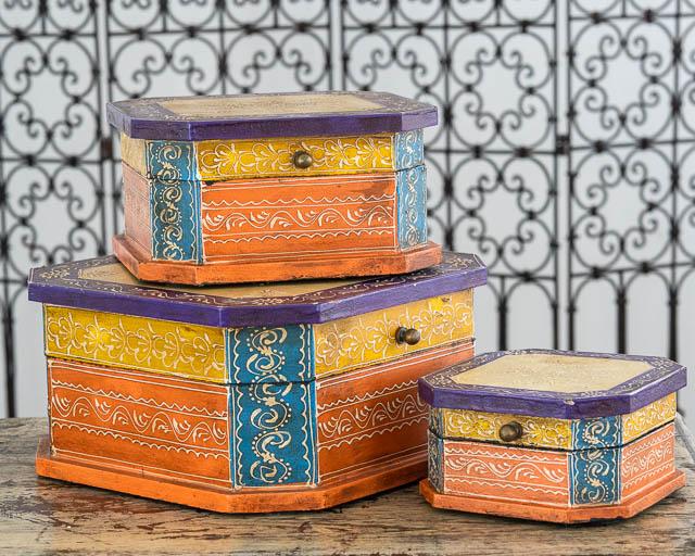 Set of 3 Boho Boxes Orange