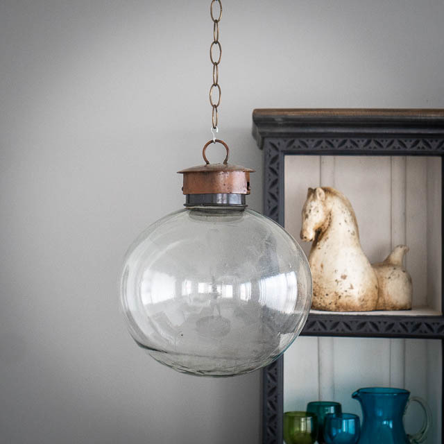 Mexican Handblown Bubble Lantern Clear