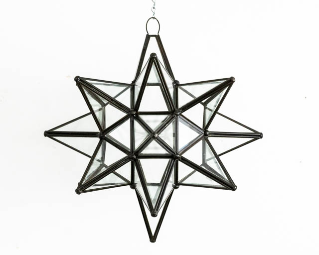 Mexican Clear Glass Star Lantern: Large