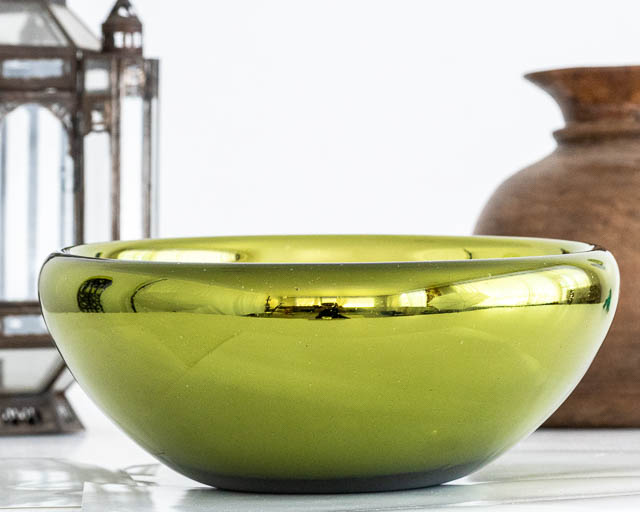 Olive Mirrored Glass Bowl
