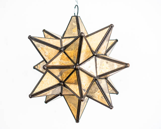 Mexican Gold Glass Star Lantern; Medium