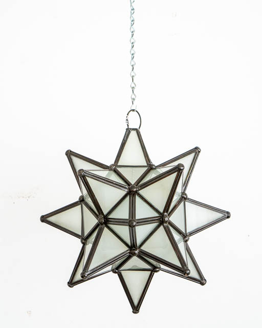 Mexican White Glass Star Lantern; Small