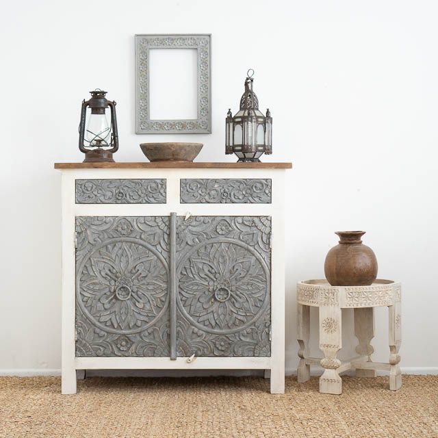 Mandala Sideboard Grey & White