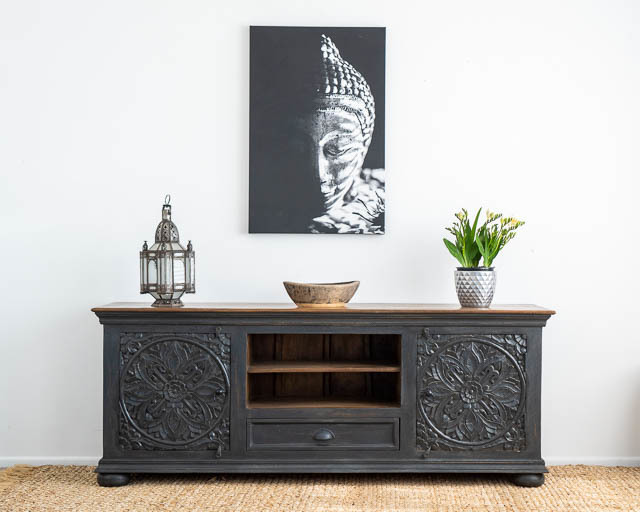 Goa TV Cabinet or Low Sideboard Charcoal