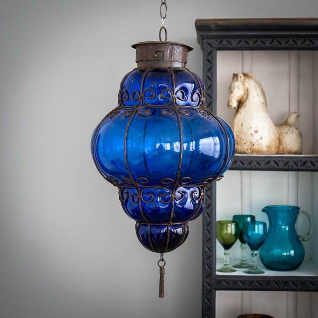 Handblown Reina Lantern Large Dark Blue