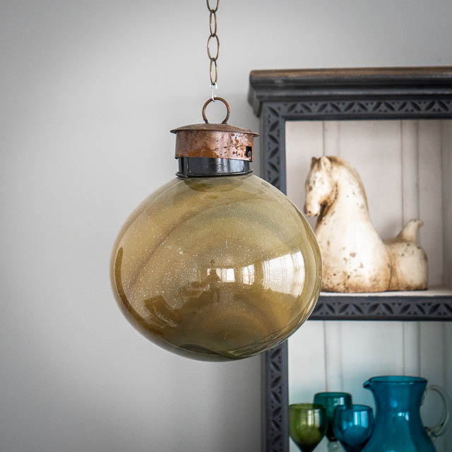 Mexican Handblown Bubble Lantern Opaque Yellow