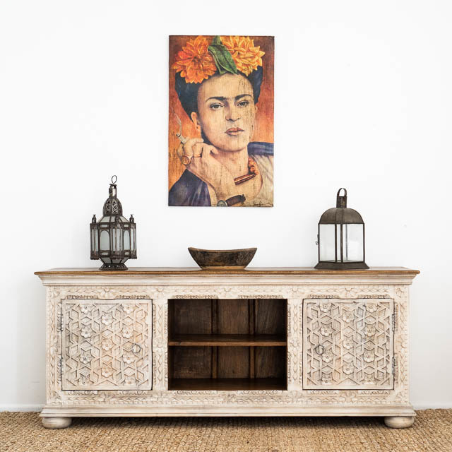Aabha TV Cabinet or Sideboard White