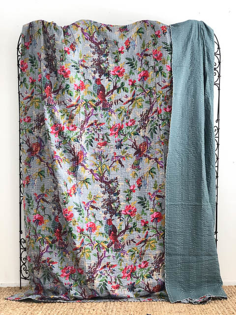 Bird of Paradise Kantha Quilt Grey