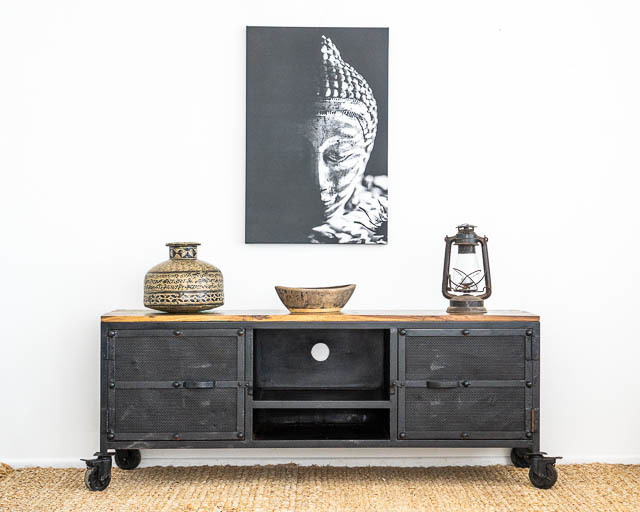Rustic Iron Industrial TV Cabinet
