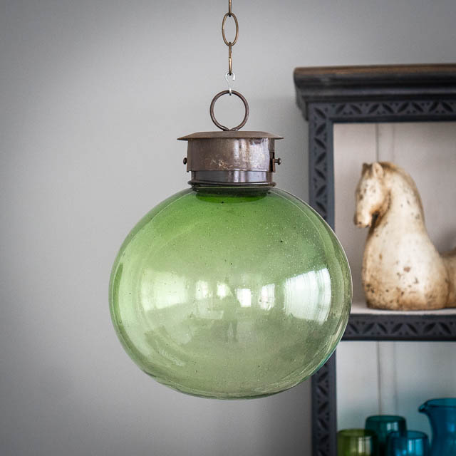 Mexican Handblown Bubble Lantern Green