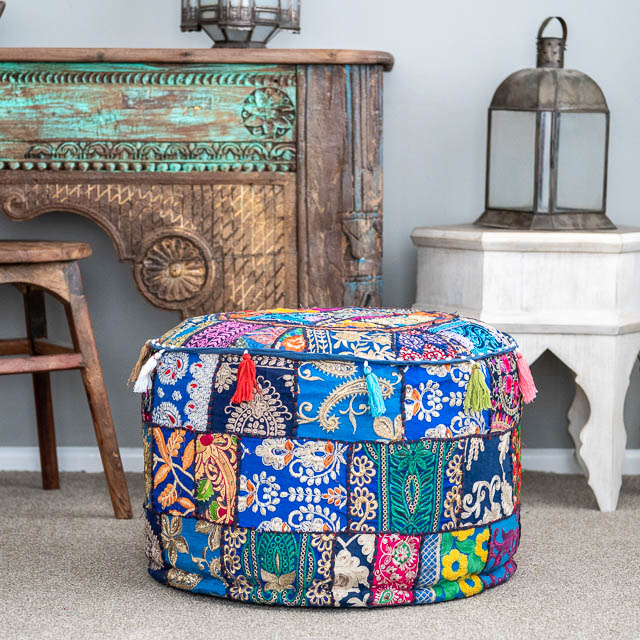 Indian Boho Pouf Blue