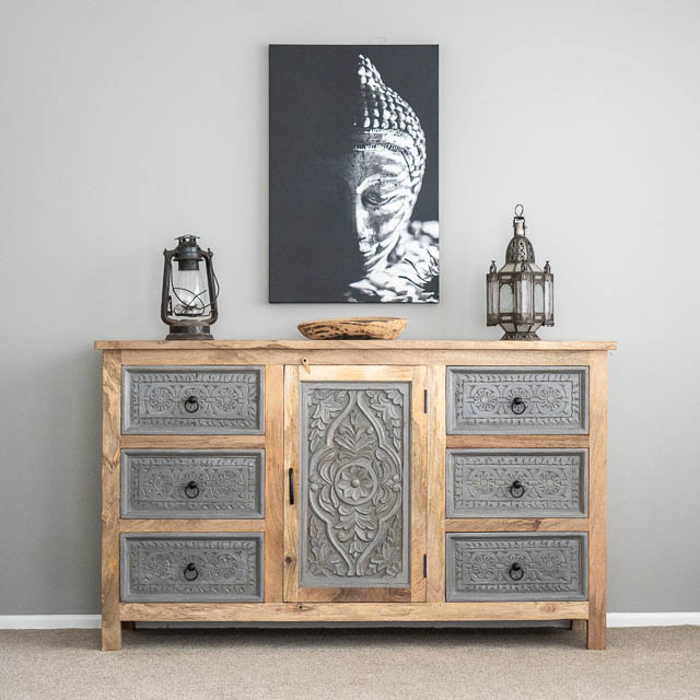 Kailani 6 Drawer Sideboard Grey/Natural