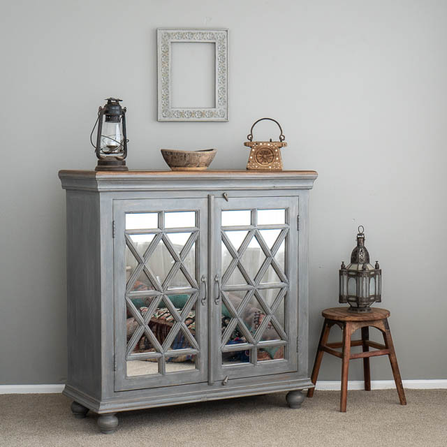 Mirrored Boho Sideboard Grey