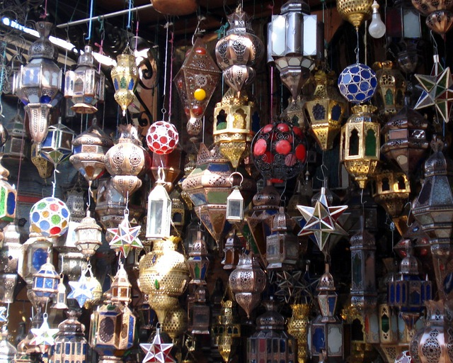 Dozens of different styles of lanterns in Marrakech.